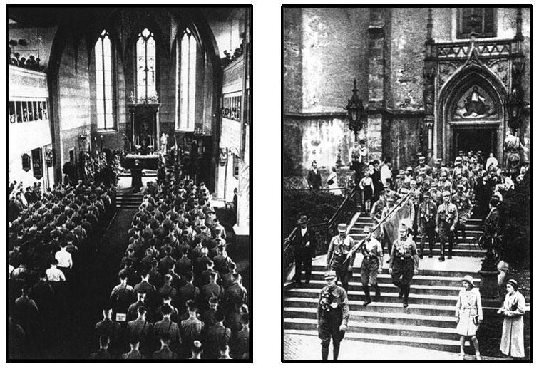 Les Chemises Brunes Nazies à la messe de l'Église Catholique